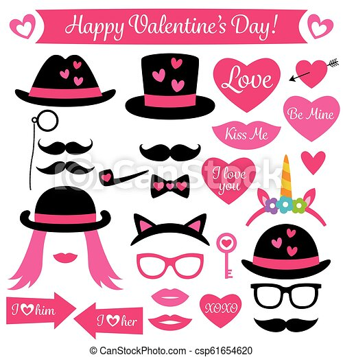 Photo Booth Props For Valentines Day Isolated Design Elements