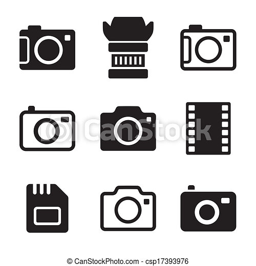 Photo Camera and Accessories Icons Set - csp17393976
