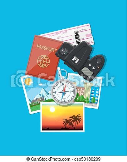 Photo camera and photos, travel concept - csp50180209