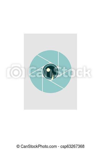 Photo camera aperture. Eye instead lens aperture - csp63267368