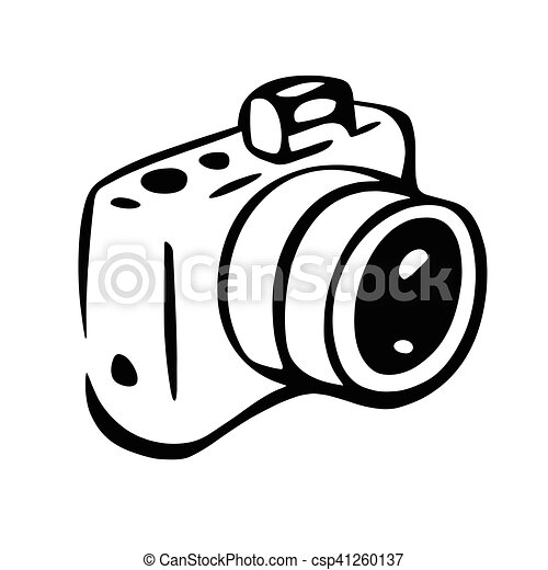 This Is An Illustration Of Photo Camera Drawing White Spaces Are