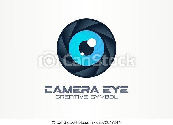 Photo camera eye, digital vision creative symbol concept. Cctv, video monitoring abstract business logo idea. Diaphragm, shutter lens icon - csp72847244