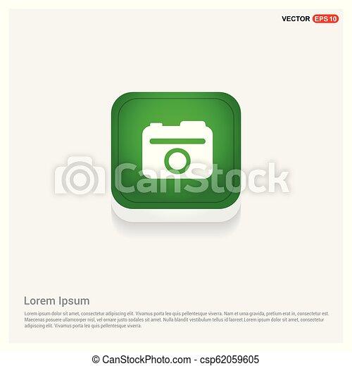 Photo camera icon Green Web Button - csp62059605