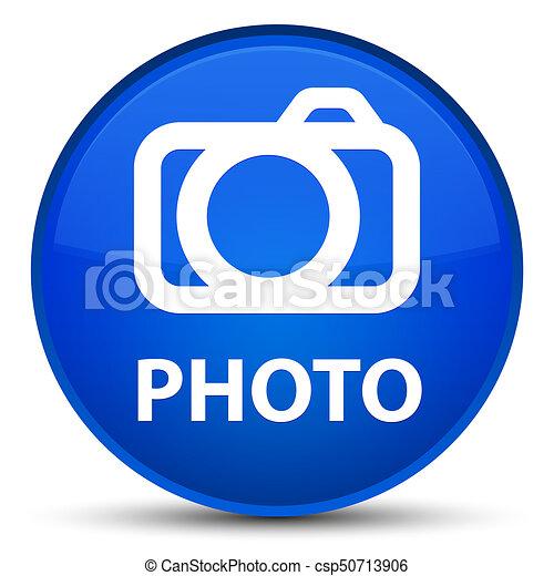 Photo (camera icon) special blue round button - csp50713906