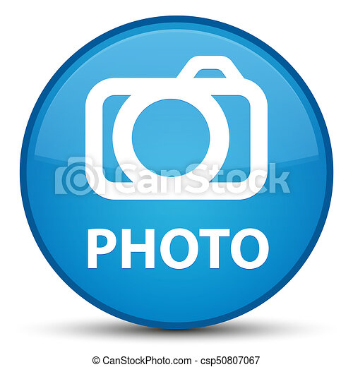 Photo (camera icon) special cyan blue round button - csp50807067