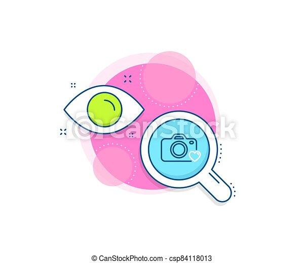 Photo camera line icon. Love photography sign. Heart. Vector - csp84118013
