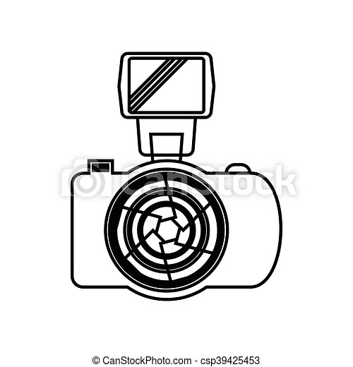 photo camera with flash icon outline style photo camera with flash rh canstockphoto com