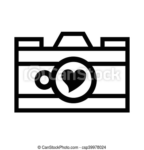 Photo Camera With Heart In The Lens Icon In Simple Style On A White