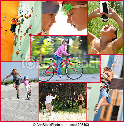 photo collage of active people doing sports activities - csp17084031