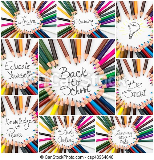 Photo Collage Of Back To School Conceptual Images Photo Collage Of