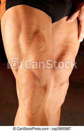 photo, culturiste, jambes, closeup - csp3900987