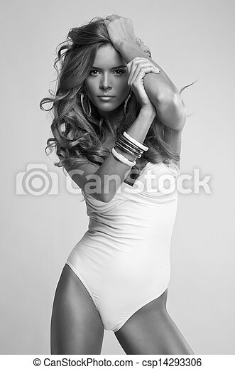Photo, Femme, Mode, Noir, Blanc