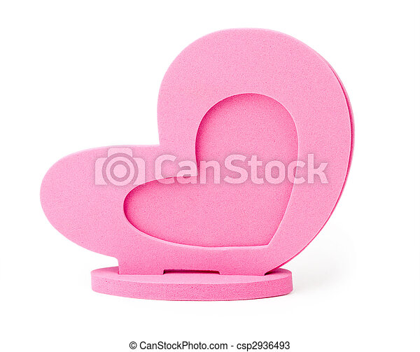 Photo Frame as the heart on a white background isolated - csp2936493