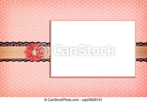 Photo frame on pink polka dot background - csp24626101