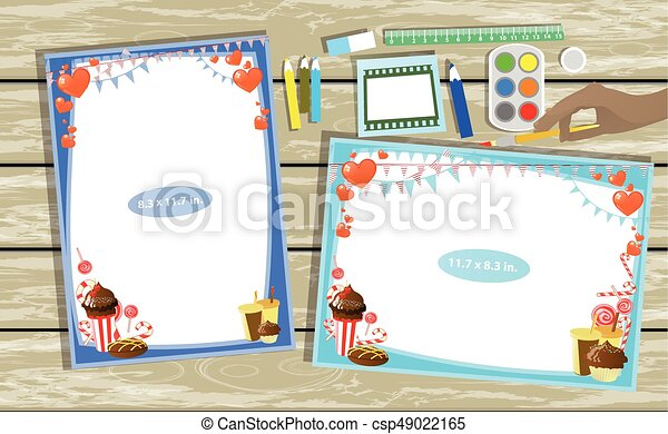 Photo Frame On The Table Horizontal And Vertical Illustration For