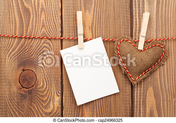 Photo frame or greeting card and handmaded valentines day toy he - csp24966325