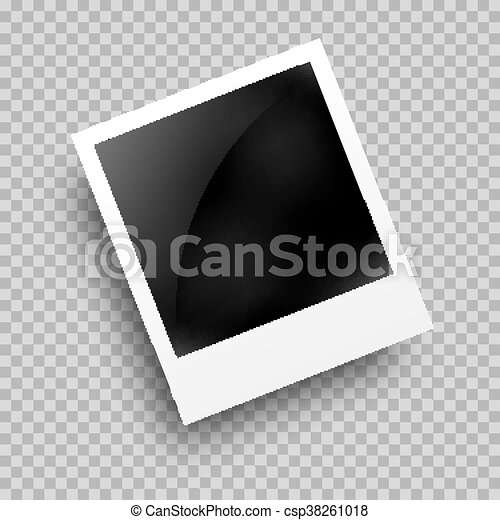 photo frame polaroid template on transparent grid