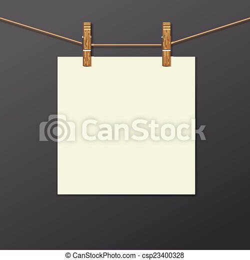 Photo frame with clothespin isolated. realistic. Photo frame with ...