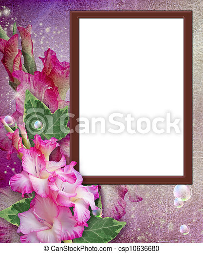 Photo frame with gladiolus  - csp10636680