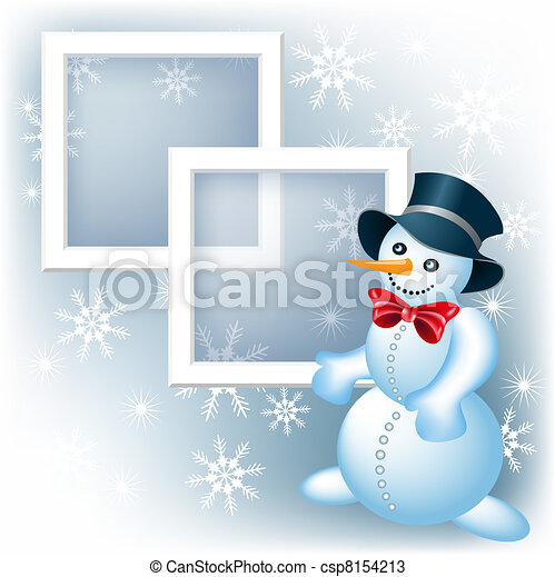 Photo frame with snowman - csp8154213