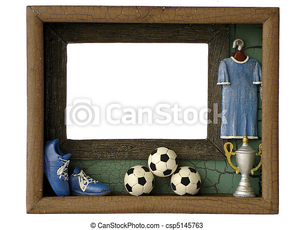 Photo frames football isolated on a white background.