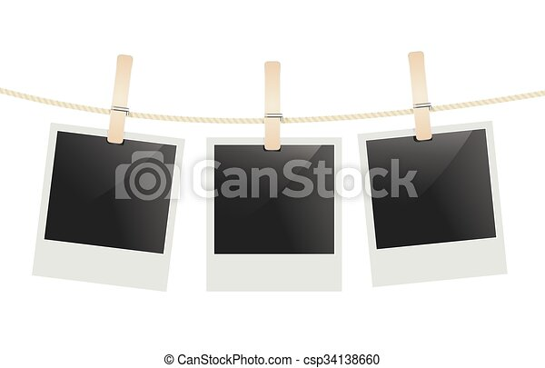 Photo Frames Hanging On A Rope With Clothespins Vector
