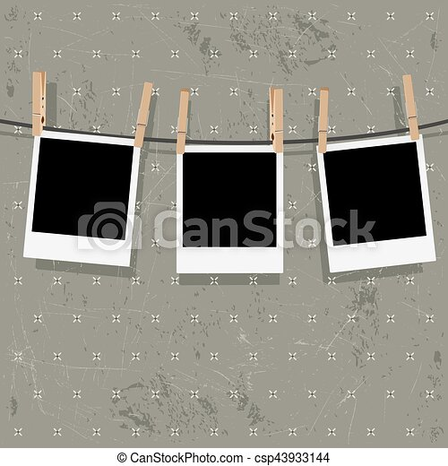 Photo Frames on Rope - csp43933144