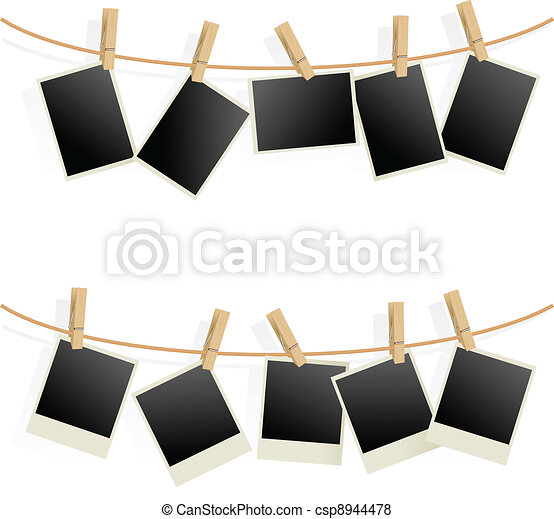 Photo Frames on Rope - csp8944478