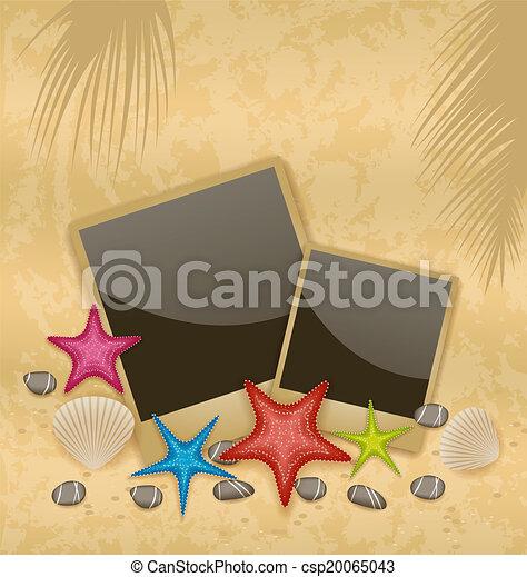 photo, -, illustration, cadres, sable, vecteur, fond, pierres, seashells, caillou, starfishes - csp20065043