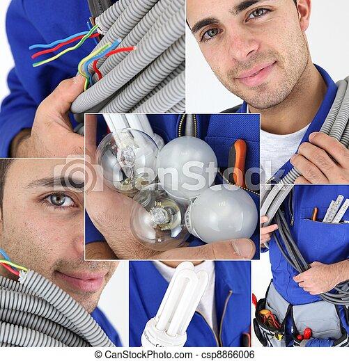 Joven electricista, fotomontaje - csp8866006