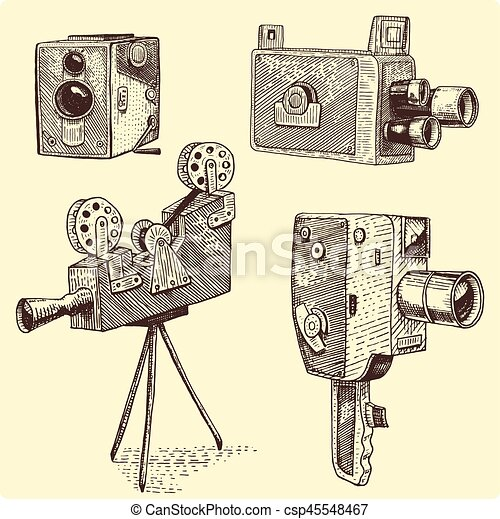 Photo movie or film camera vintage, engraved, hand drawn ...