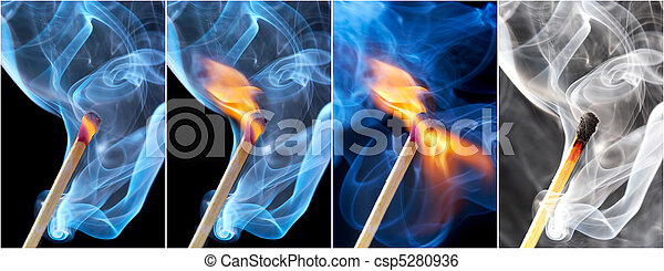 Photo of a burning match in a smoke on a black background - csp5280936