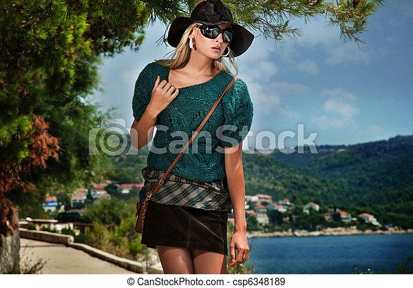 Photo of a stylish woman - csp6348189