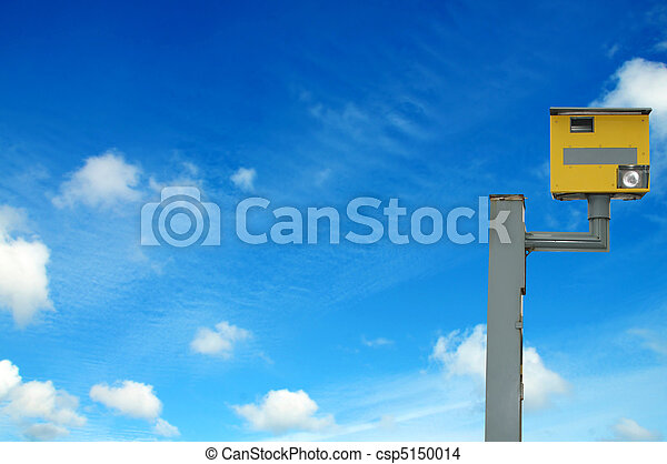 Photo of a yellow speed camera, with space for your text / editorial overlay - csp5150014