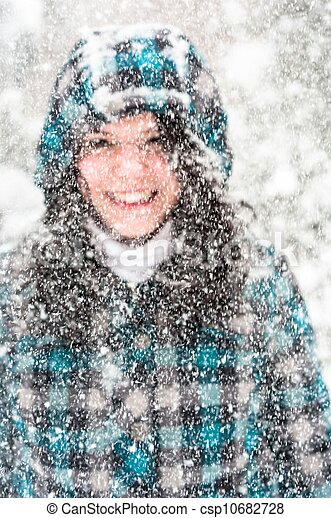 Photo of a young woman in the snow - csp10682728