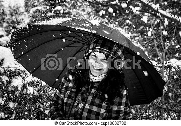 Photo of a young woman in the snow - csp10682732