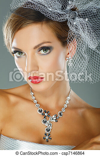 Photo of beautiful girl in weddings decorations in fashion style - csp7146864