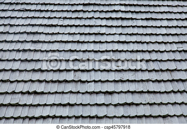 photo of beautiful grey wooden roof shingles - csp45797918