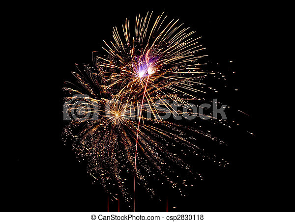 Photo of multiple real fireworks on long exposure - csp2830118