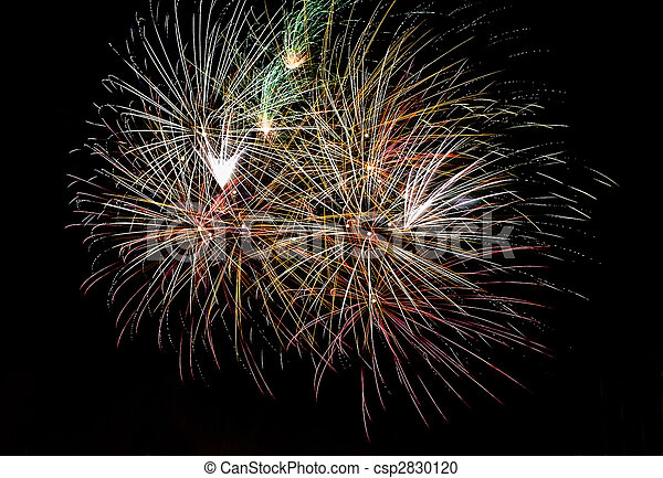 Photo of multiple real fireworks on long exposure - csp2830120