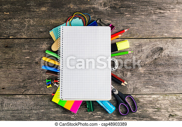 Photo of office and student gear. Back to school concept. Top view - csp48903389