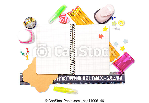 Photo of office and student gear over white background - Back to school concept - csp11006146