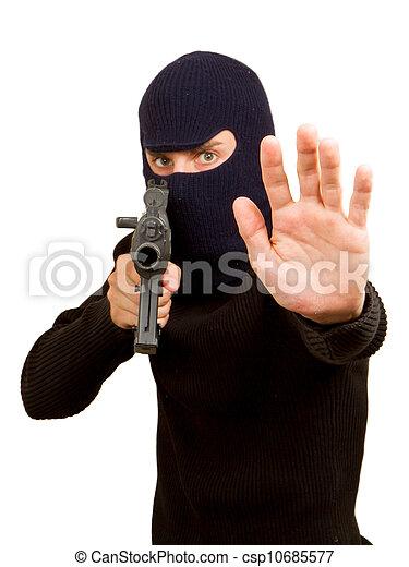 Photo of terrorist with gun - csp10685577