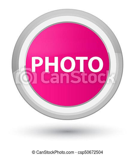 Photo prime pink round button - csp50672504