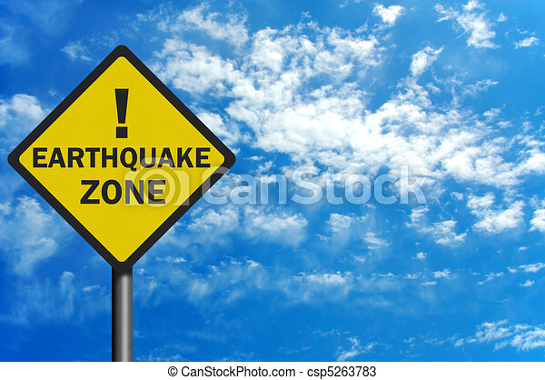 Photo realistic 'earthquake zone' sign, with space for text overlay - csp5263783