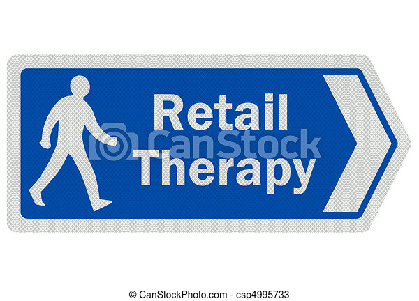 Photo realistic ' retail therapy' sign, isolated on white - csp4995733