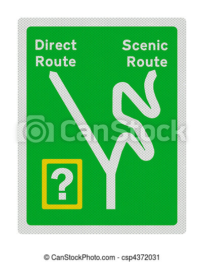 Photo realistic sign - direct route or scenic route? - csp4372031