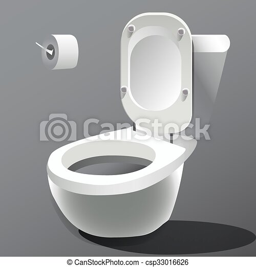 Tazón de baño aislado en vector foto-realista blanco. - csp33016626