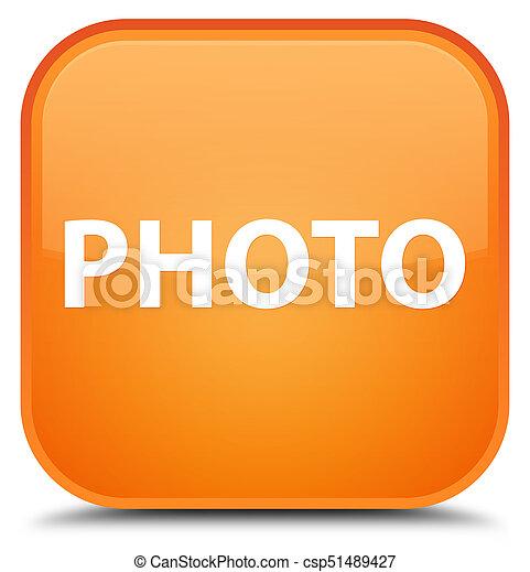 Photo special orange square button - csp51489427