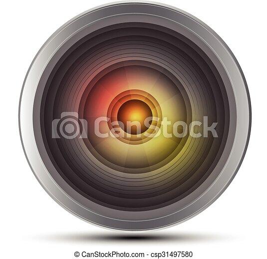 photo, vecteur, lentille appareil-photo, illustrat - csp31497580